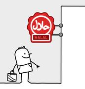 hand drawn cartoon characters - consumer & shop sign - halal - stock illustration