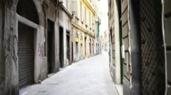 Old streets in Genoa, Italy, close to port - stock footage