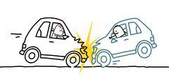 hand drawn cartoon characters - car crash - stock illustration