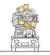 hand drawn cartoon characters - man in car & move - stock illustration