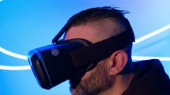 Man using vr virtual reality new tech gadget Stock Footage