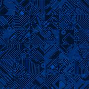 Computer circuit board dark blue pattern - vector seamless hi tech abstract t Stock Illustration