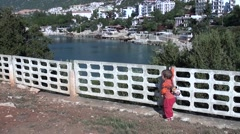 Child and town in the background Stock Footage
