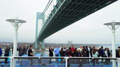 Cruise ship passes under the Verrazano bridge New York - Anthem of the Seas Stock Footage
