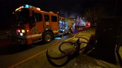 Fire Truck With Hoses And Hydrant At Night Time - stock footage