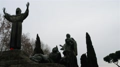 Monument to St. Francis of Assisi in Rome, Italy Stock Footage