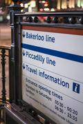 Stock Photo of Bakerloo and Piccadilly line sign