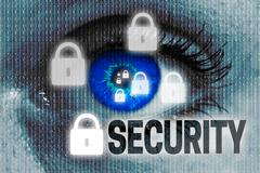 Security eye looks at viewer concept background Stock Photos