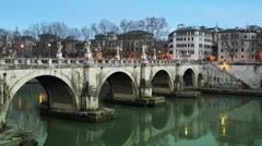 Bridge of Hadrian in Rome, Italy Stock Footage