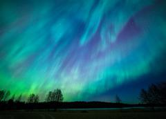 Northern lights aurora borealis landscape - stock photo