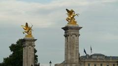 Stock Video Footage of Alexander III bridge golden statues in Paris France