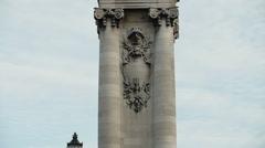 Alexander III bridge golden statues in Paris France - stock footage