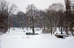 Lazienki Park in winter Stock Photos