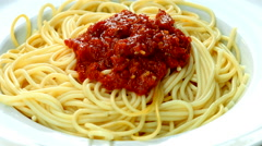 Fresh, cooked pasta, served on a plate. Close up of cooked spaghetti on a plate  Stock Footage