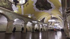 "Interior Moscow metro station ""Komsomolskaya"" Stock Footage"