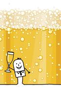 hand drawn cartoon character & champagne - stock illustration