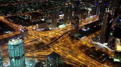 Dubai downtown at night, United Arab Emirates Stock Footage