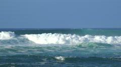 Ocean waves. Beautiful windy and wavy Ocean in Hawaii coast Stock Footage