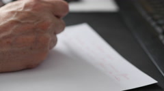 Old Man's Hand Writing Text Stock Footage