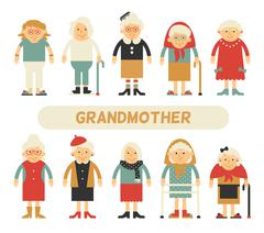 Vector set of characters in a flat style - stock illustration
