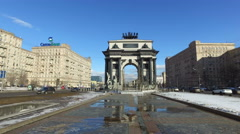 Triumphal Arch of Moscow to commemorate Russia's victory over Napoleon - stock footage