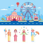 Circus and Clowns Stock Illustration