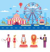 Circus with animal trainers and magician - stock illustration