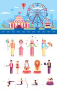 Circus with artists - stock illustration