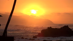 Tropical ocean sunset with big waves and flock of seagull - Hawaii coast - stock footage