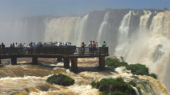 Tourists at Iguazu Falls, on the Border of Argentina and Brazil Stock Footage