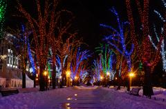 Winter night on Primorskii Boulevard decorated with colourful garlands,Odessa - stock photo