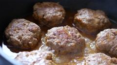 Patties Of Minced Meat In A Frying Pan Fried In Oil Stock Footage