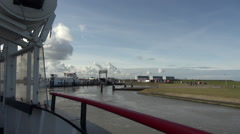 Ferry to Schiermonnikoog from Lauwersoog Stock Footage