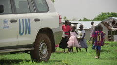 April 2015 South Sudan - Gorom refugee camp kids dance - stock footage