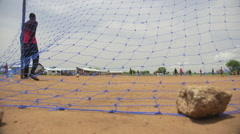 April 2015 South Sudan - Gorom refugee camp football game - stock footage