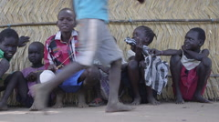 April 2015 South Sudan - Gorom refugee camp kids - stock footage