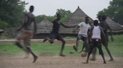 April 2015, South Sudan - boys play football Stock Footage