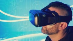 VR virtual reality goggles conception Stock Footage