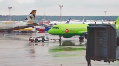MOSCOW, RUSSIA : Airbus A319 of S7 Airlines towing at Domodedovo Stock Footage