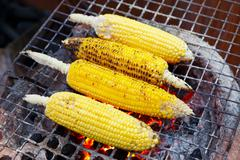 Charcoal grilled corn Stock Photos
