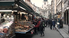 Traditional Czech Market in Historical Center of Prague Stock Footage