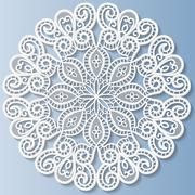 Decorative flower, snowflake, mandala, embossed pattern, lace pattern - stock illustration