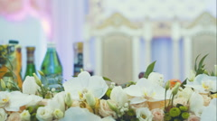 Wedding table flower decor - dolly motion. RAW video record Stock Footage