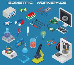 Isometric science concept with 3D design, electronics and chemistry equipment Stock Illustration