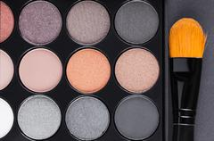 Eyeshadow Palette and brush Stock Photos