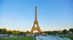 Low Angle View Of Eiffel Tower Against Blue Sky - stock photo