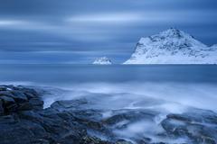 Blue hour on the beach Haukland Lofoten Norway Europe Stock Photos
