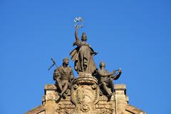 Stock Photo of Statue group Noris Funny Council and Meistersinger Opera House Nuremberg Middle