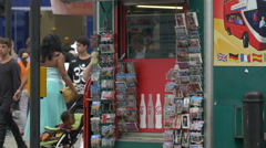 Souvenir shop with post cards in London Stock Footage