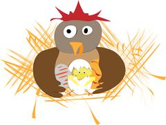 Funny easter applique with hen, eggs and chicken Stock Illustration